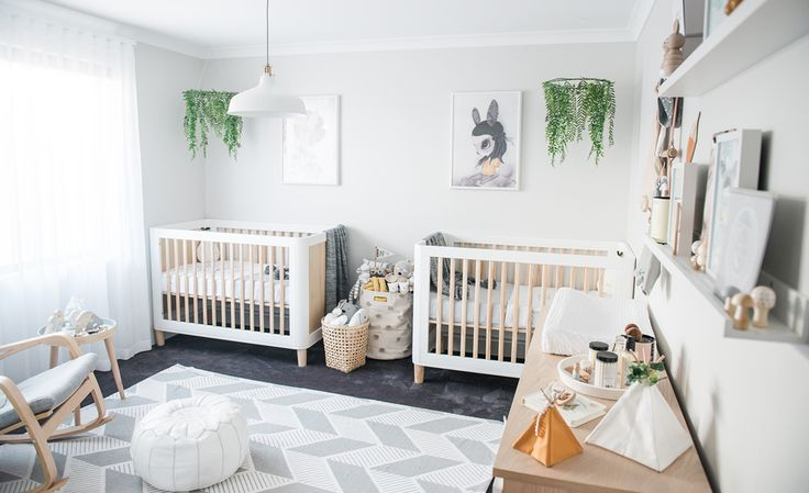 This gender neutral twin nursery by NashStyling is filled with items from small businesses, which makes for a beautiful and unique space.