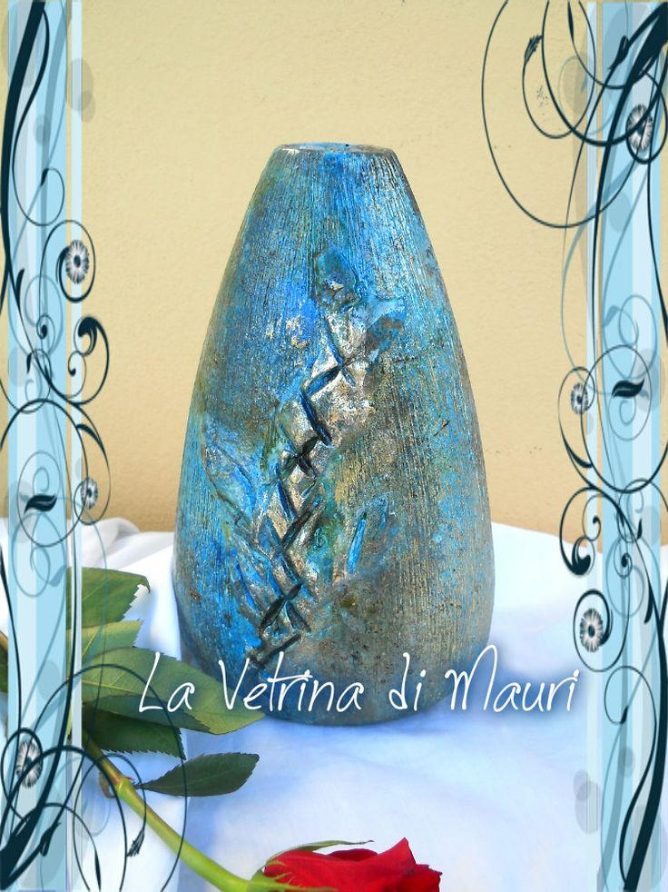 Vaso in terracotta - in stile Raku - azzurro e antracite