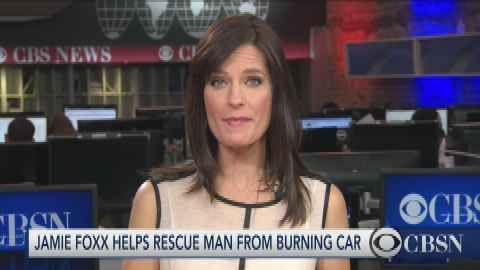 Jamie Foxx saves driver from burning truck in California.    HIDDEN VALLEY, Calif. -- A California man is alive today thanks to the quick actions of actor Jaime Foxx.