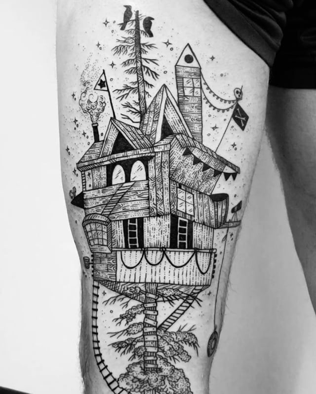 Magical treehouse tattoo  by @freeorgy   Wishing today we could all climb up a magic redwood to hide out in a treehouse fort of innocence and play on a too long tire swing and shimmy up and down the ladders in the stars guarded by cosmic crows. It's dark in the thick of the forest, but let's build upwards. Thanks Danny! ✨✨✨✨