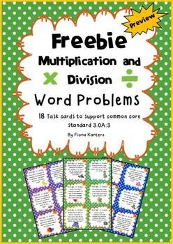 This freebie comes with 18 colorful multiplication and division task cards, student answer sheets as well as answer keys for students to check their work. There are a mixture of multiplication word problems and division word problems. Students need to determine which skill is needed to solve the problem and then write the equation on their answer sheet. The questions cover the 2, 3, 4, 5 and 10 times tables. The cards will work well in stations, individual work and for early finishers.