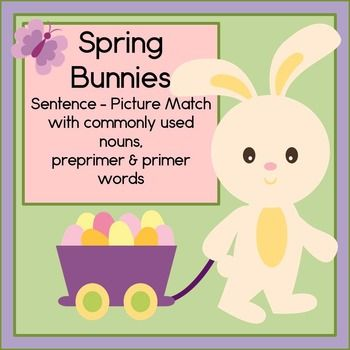 Get ready for spring time with these adorable bunnies and eggs!  Spring Bunnies Sentence Picture Match includes 12 sentences and pictures for students to read and match, as well as a vocabulary poster, 2 follow up worksheets, and directions.  This complete literacy center needs little preparation: just print, laminate and teach!