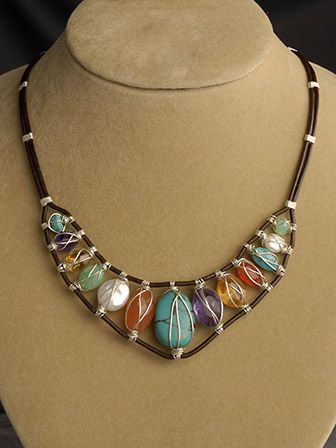Leather and gemstone necklace.......I think I could make this!!!!