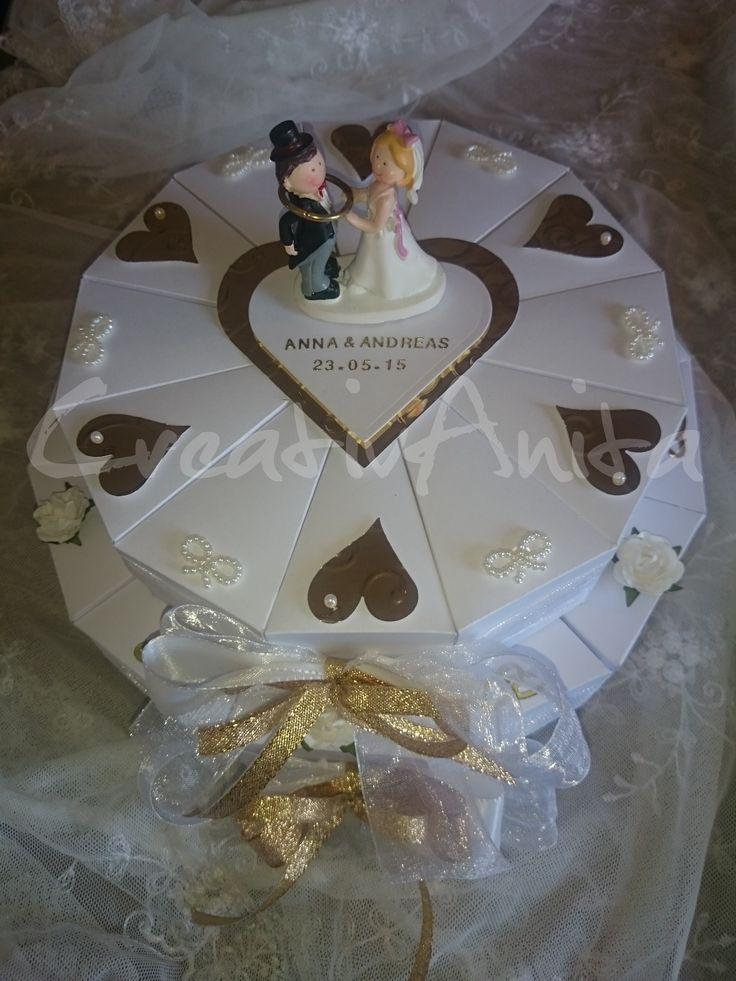 Schachteltorte zur Hochzeit *SILBER-WEISS* 2stöckig, Geldgeschenk - Silberhochzeit