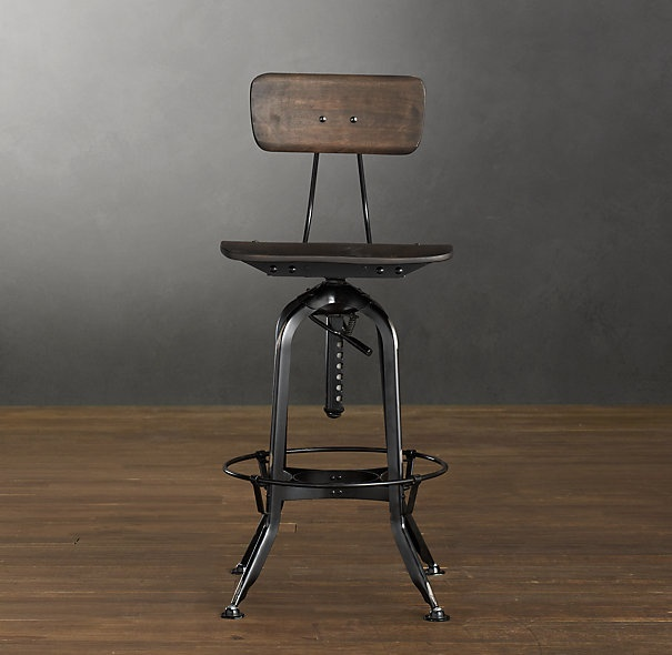 Vintage Toledo Bar Chair Distressed Black Bar Counter Stools Restoration Hardware