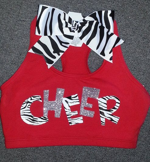 Zebra & Glitter Cheer Sports Bra With Matching Zebra Bow on Wanelo