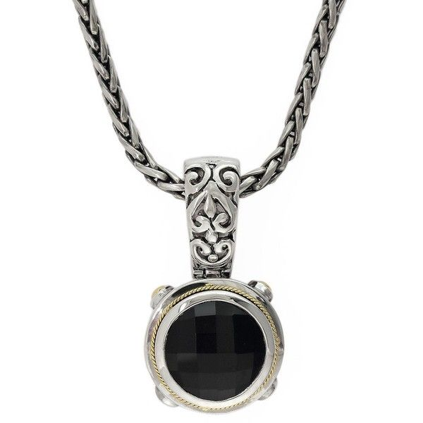 Effy Men's Balissima 18K Yellow Gold and Sterling Silver Onyx Pendant (€285) ❤ liked on Polyvore featuring men's fashion, men's jewelry, men's necklaces, onyx silver, mens pendants, mens gold chains, mens chain pendants, mens pendant necklace and mens necklaces
