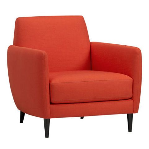 Amp up the energy in the room with this deeply comfortable orange chair. Its simple, straightforward design in an eye-catching color is a wonderful finishing accent to the modern living room.