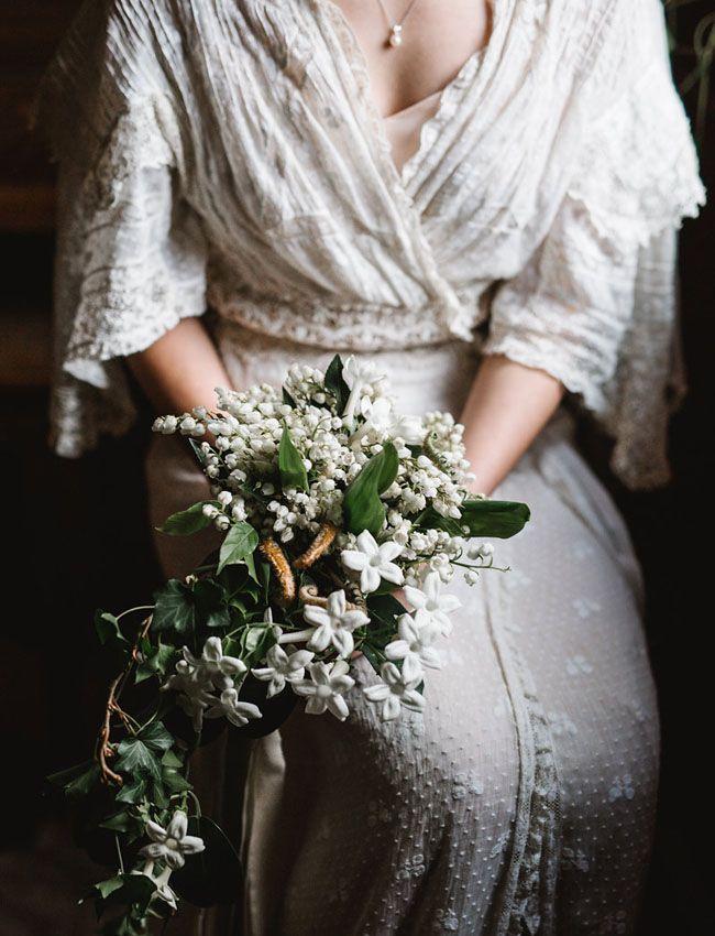Classic white cascading bouquet