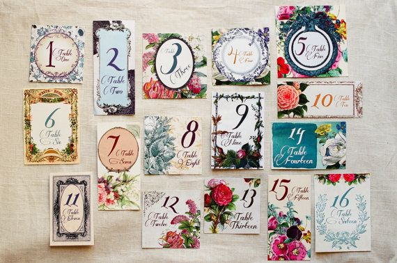 Secret Garden Wedding Table Numbers on Etsy, $8.00