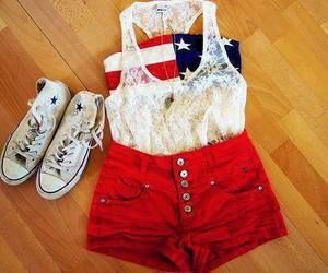 american flag bandeau plus red shorts and converse