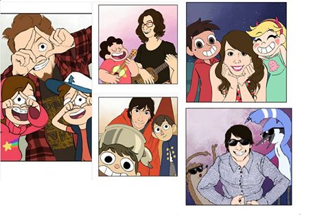 cartoon main characters with their creators <3 Dipper and Mabel (Gravity Falls)- Alex Hirsch, steven,(Steven Universe)- Rebecca Sugar, Wirt and Greg (Over The Garden Wall)- Patrick McHale, Star and Marco (Star vs the Forces of Evil)- Daron Nefcy, Mordecai and Rigby (Regular Show)- J.G. Quintel