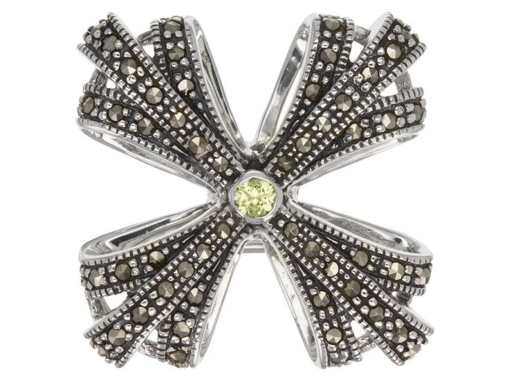 .07ct Round Peridot With Round Marcasite Sterling Silver Pin/Brooch