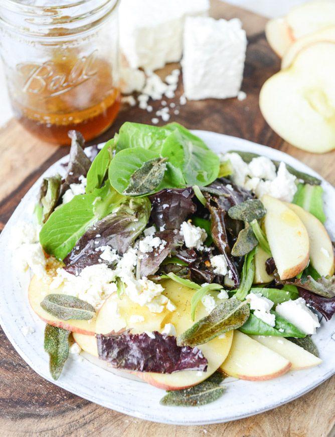 honeycrisp salad with crispy sage and maple vinaigrette I howsweeteats.com