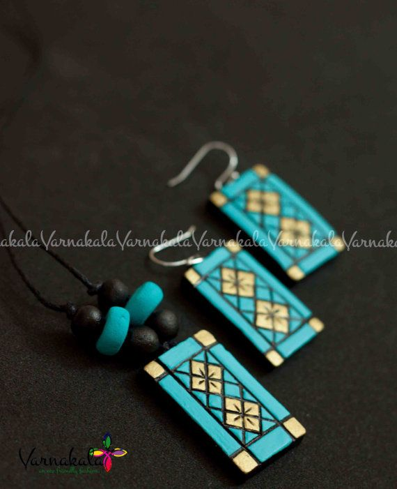 BLUE & GOLD Geometric Collection handmade beaded by Varnakala