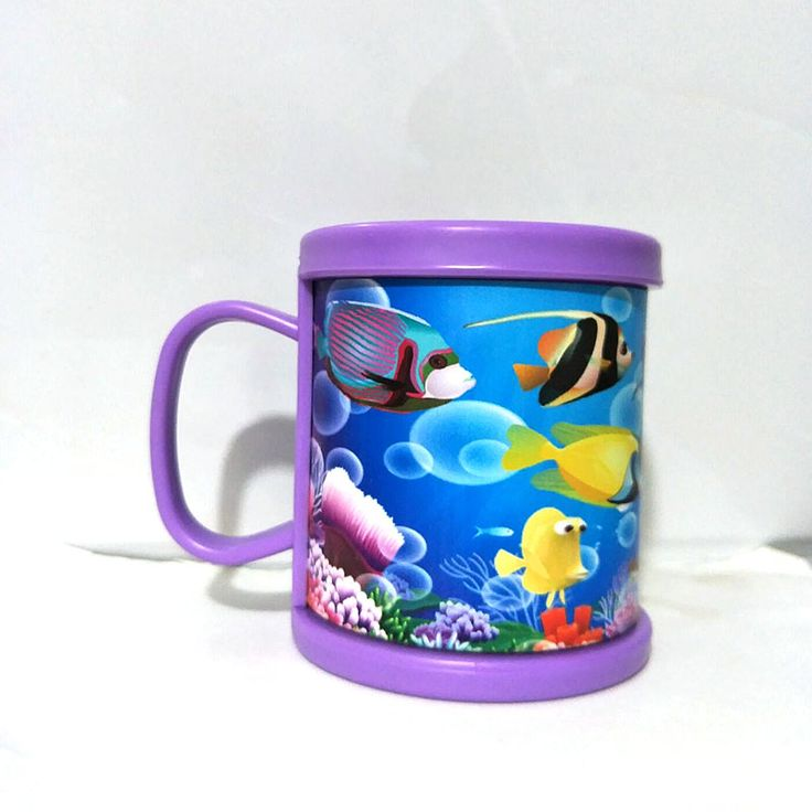 Brand New Plastic Coffee Mugs Beer Cup With Insert Printing Paper Sea Animasl Purple Water Tumbler With Handgrip Gifts Cups #Affiliate