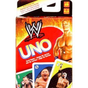 Use the WWE Uno Card Game to play UNO in a battle of supremacy. Includes a special Royal Rumble card and extra game rule! And be sure to yell UNO! when youre about to show your dominance and win! Contains 112 cards and instructions. For Ages 7 and up. For 2 to 10 players.