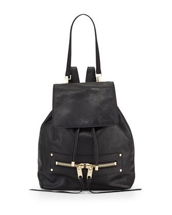 $425  Riley+Goatskin+Leather+Backpack,+Black+by+Milly+at+Neiman+Marcus.