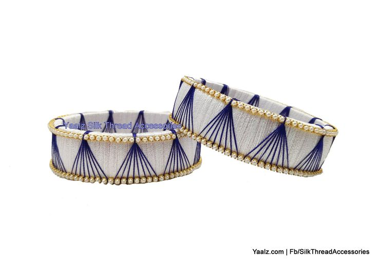 Yaalz Simple Kada Bangles in White And Blue Colors
