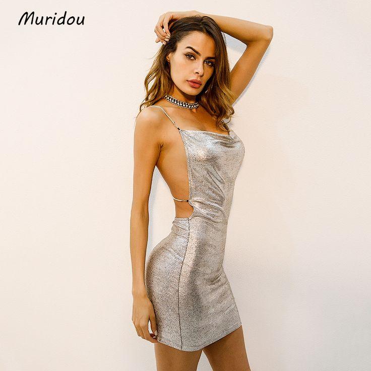 $27.28 - Cool Muridou 2018 Sexy Diamond Halter Metal Party Dresses Silver Summer Dress Vesitos Backless Sequins Women Dress 2017 - Buy it Now!