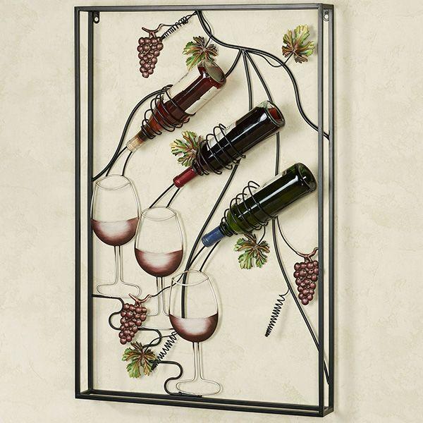 Pour Another Glass Metal Wall Art Wine Bottle Rack En 2020 Vitrinas