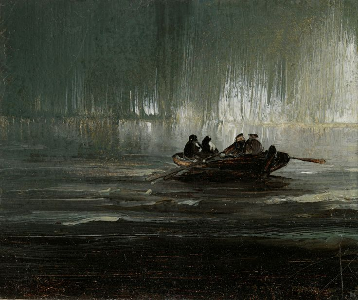 Peder Balke, Nordlys over fire menn i robåt (1887)
