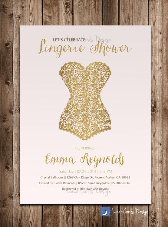 lingerie showerbridal showerlingerie by lunarcardsdesign on Etsy, $13.00