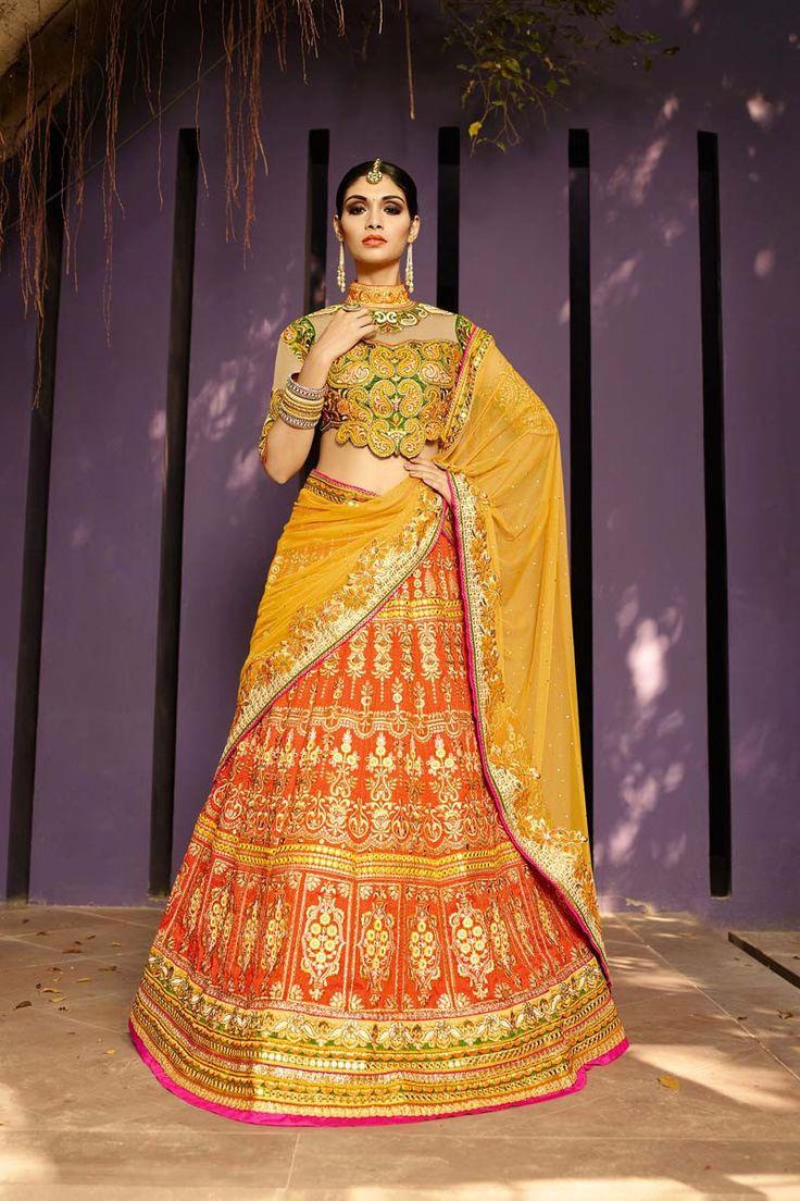 Orange Art Silk Bridal Lehenga