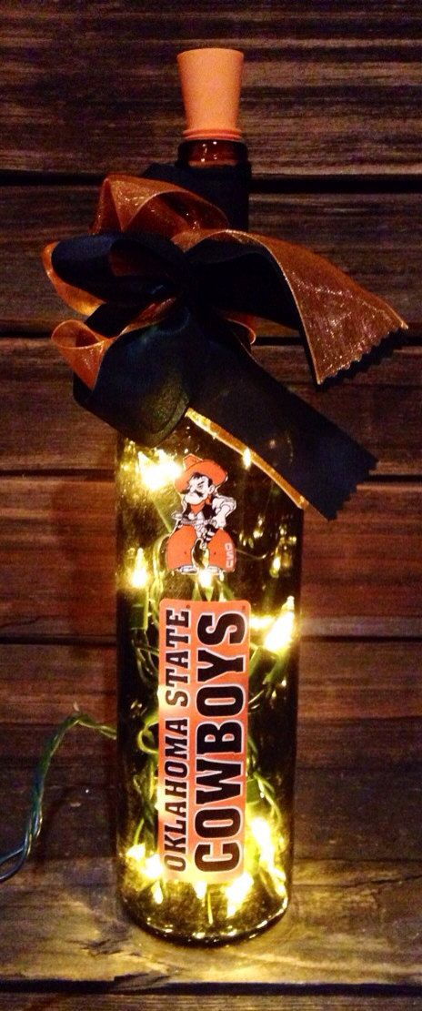 Oklahoma State University Lighted Wine Bottle by BottlesbyJanice