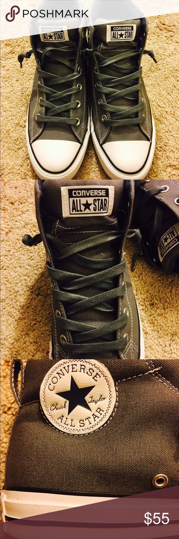 Chuck Taylor converse street mid rise style NEW CT converse shoes New! Never used. Dark grey padded inside is marine blue. New. Were too small for husband! Converse Shoes