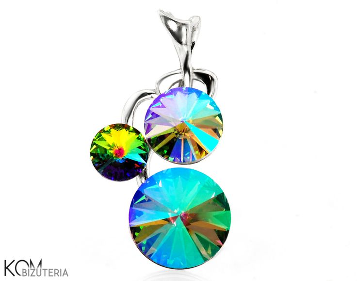 BRANCH - green and blue - Swarovski and silver pendant. Lovely silver pendant with shining Swarovski rivoli crystals that change colour from green to blue and yellow shaped as a tree branch.