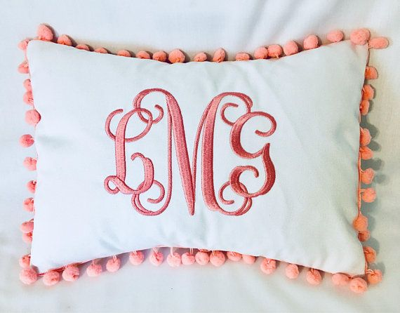 Monogrammed Pillow Cover Pom Pom Pillow Cover Personalized Pillow Cover Dorm Decor 14x10 Pillow Cover Monogrammed Pillow Monogram Pillows