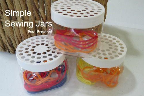 Simple Sewing Jars by Teach Preschool