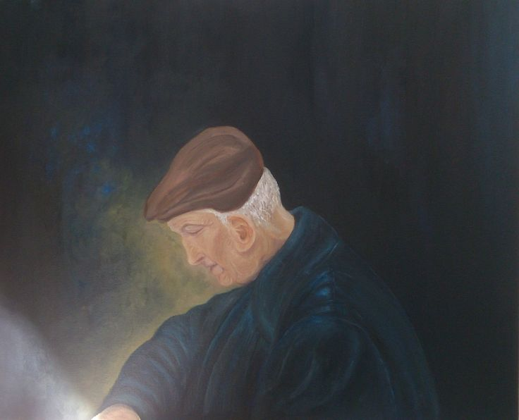 The Melancholy of old age oil on canvas by Litsa Raftopoulou