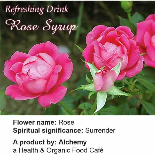 Ingredients: fresh rose petals, sugar, lemon, filtered water; no colours, no chemicals