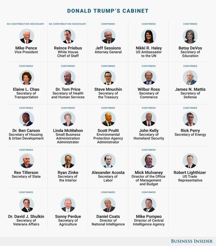 MEET THE NEW EXECUTIVE BRANCH: Here's who Trump has chosen for senior leadership positions