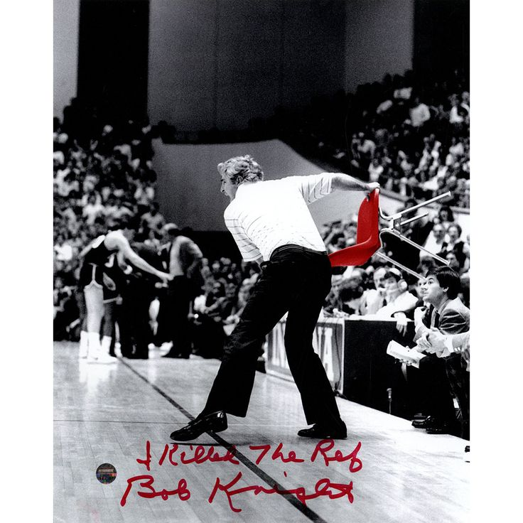 Bob Knight Signed Throwing Chair B&W w/ Red Chair 8x10 Photo w/ 'I Killed The Ref' Insc.