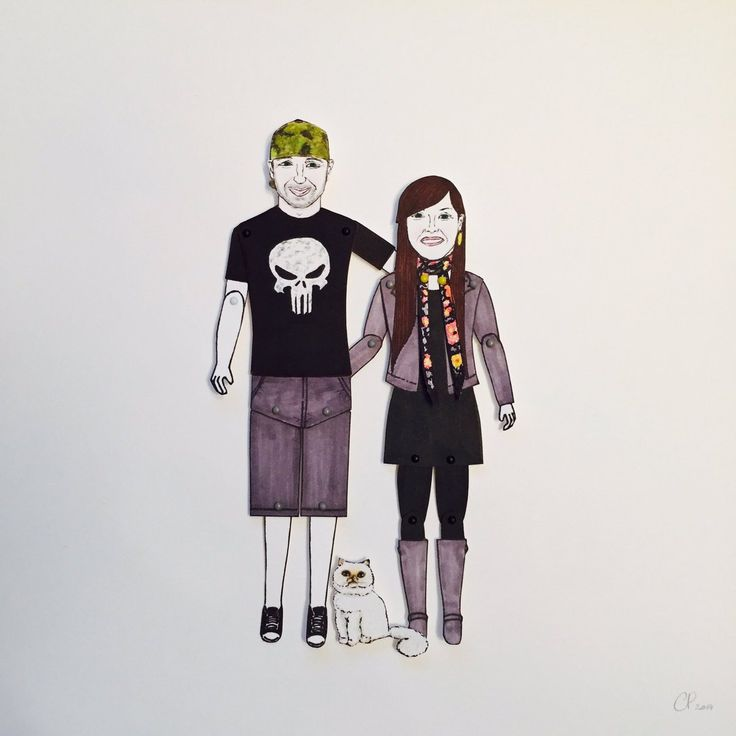 """Cat Pang-Murray on Twitter: """"This awesome cute couple & their fluffy cat are heading to #California for any occasion #anniversary #paperdolls #illustration #celebration https://t.co/rV7KLHzTzk"""""""