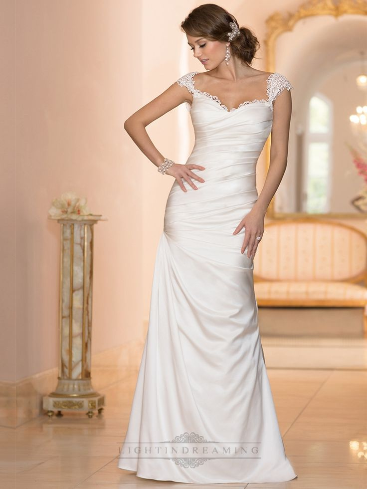Classic Illusion Cap Sleeves Sweetheart Ruched Bodice Wedding Dresses - LightIndreaming.com