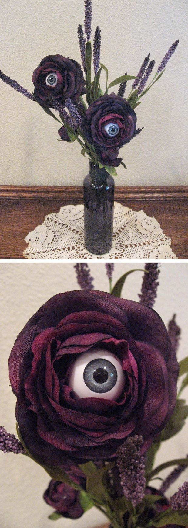 Spray paint red roses and add an eyeball from the craft store for Living Dead Flower Bouquet.