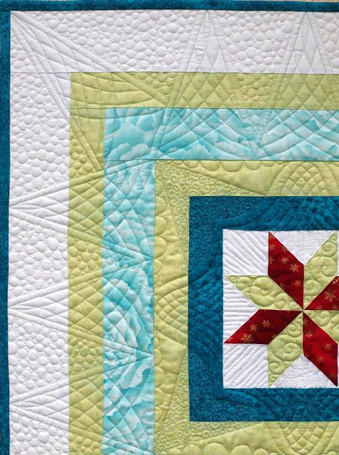Sampaguita Quilts: Winter Windows.  Quilt design ignores the piecing and accents the center design.