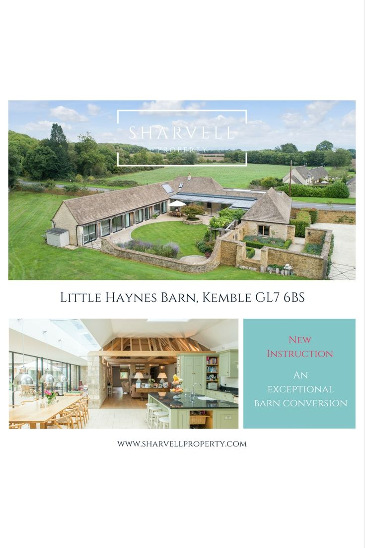 Little Haynes Barn, Kemble. For sale with Sharvell Property, boutique Estate Agency near Cirencester. A superb converted barn in the the heart of the Cotswolds. Exceptional open plan living, exposed oak beams, Aga, large sliding doors and beautifully kept gardens and paddock.