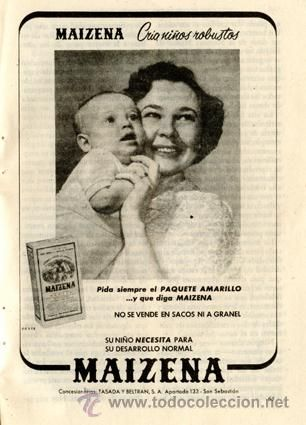 Página Publicidad Original *MAIZENA* TASADA Y BELTRÁN - Agencia OESTE - Madre Bebé - Año 1957