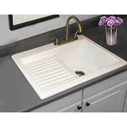 Utility Sink   Laundry Tub With Washboard And Drainboard, Microban  Protected   Edgewood By CorStone