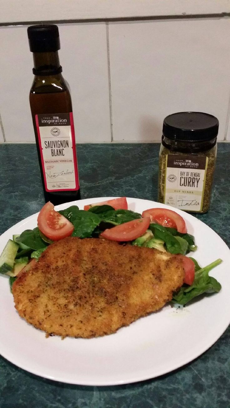 YIAH Bay of Bengal Curry crumbed chicken and fresh salad with YIAH Sauvignon Blanc Salad
