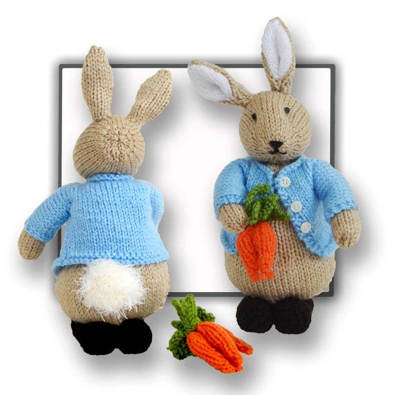 Peter Bunny Rabbit knitting pattern can be found at https://www.etsy.com/listing/469449545/peter-bunny-rabbit-pattern