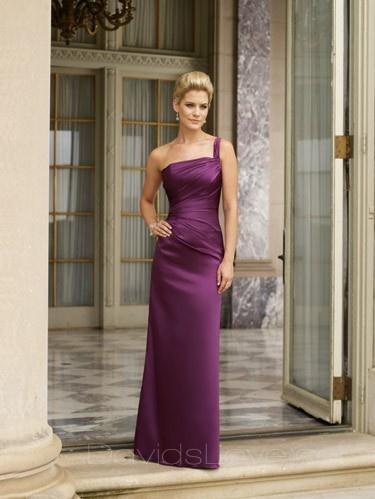Sheath One-Shoulder Long Satin Bridesmaid Dress
