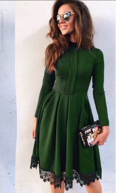 Scoop Long Sleeves Lace Patchwork Flared Pleated Knee-length Dress More