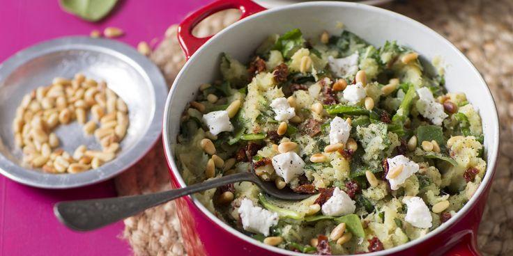 Zoete aardappelstamppotje met spinazie en geitenkaas