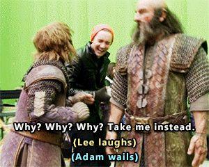The Hobbit behind the scenes BTS - Lee Pace, Adam Brown tumblr_o6qr8v2iZj1qejlzto3_r1_400.gif (300×240)